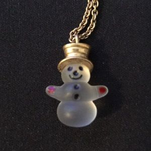 1980 Frosted Snowman Necklace from Avon